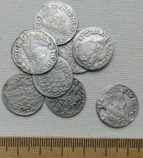 1621, 1622, 1623, 1624 гг. Трояк Сигизмунд III Ваза, 9 шт.