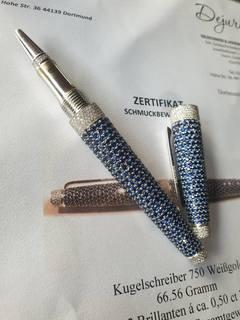 Корпус ручки.Белое золото 750*.Бриллианты,сапфиры.