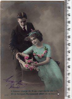 Старинная открытка. 1913 год. Фэнтези, пара мужчина женщина.
