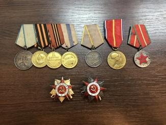 Комплект наград без ОК. Орден ВОВ 1 и 2 степени + медали 7шт.