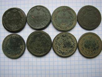 2 копейки 1815, 1816, 1820, 1812, 1813 и 1818(S/ описание)