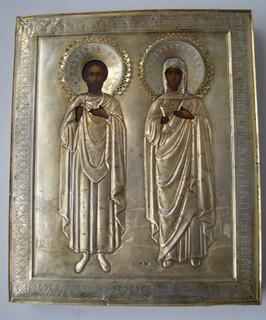 Икона Евгений и Мария в серебре.