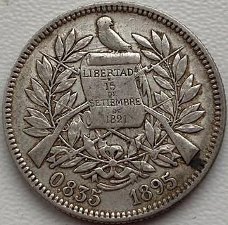 Гватемала 2 реала 1895 год серебро