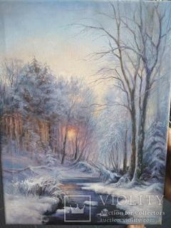 """""""Зимний вечер в лесу"""" 30х40см."""