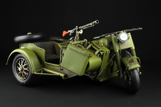Модель военного мотоцикла с коляской. Металл (0501)