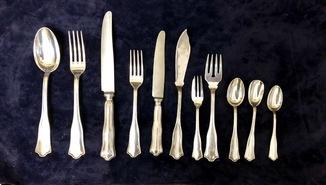 Набор столового серебра, на 12ть персон. Италия 800 проба, 5906 грамм.