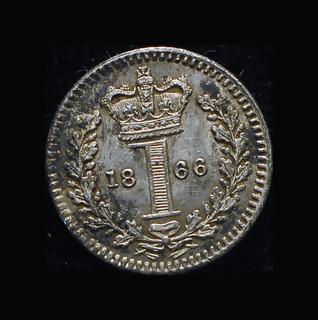 Великобритания 1 пенни 1866 Unc серебро маунди