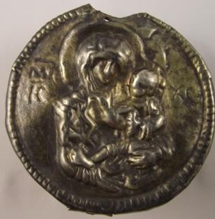 Большая круглая тельная икона в серебре периода до 13 в.