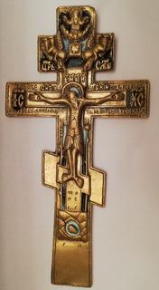 Крест.Распятие Христово.Эмаль 19-Век.