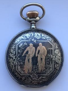 Часы карманные серебро(чернь, золотые вставки) Австрия, Вена. Конец 19 века