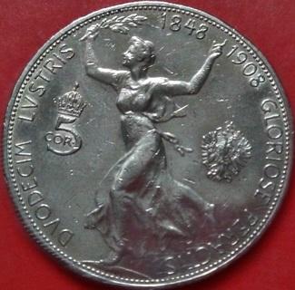 """5 Корон 1908 , Австро-Венгрия, """"60 Лет Правления Франса Иосифа"""",серебро"""