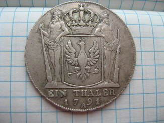 Германия Пруссия 1 талер 1791 года