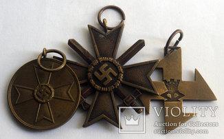 Комплект Кресты и медаль всего 3 шт. на одного III Рейх и Румыния, Лот 4961