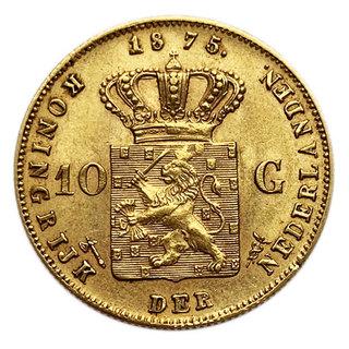 10 гульденов 1875 года. Нидерланды. UNC.