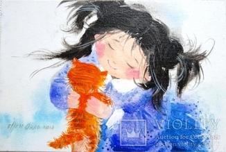 Картина «Рыжий котёнок». Художник Ellen ORRO. Холст на картоне/акрил. 20х30, 2018 г.