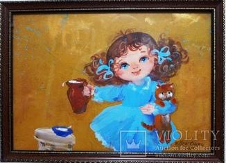 Картина «Завтрак котёнку». Художник Ellen ORRO. двп/акрил. 30х21,2011 г.