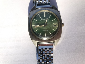 Часы GUB GLASHUTTE SPEZIMATIC, 26 камней, механические. Made in GDR Green dial.