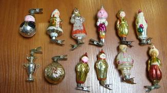 Елочные игрушки СССР на прищепках, 12 шт