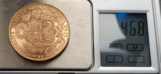 100 Перуанських Солей 1965р., золото 46,8г.
