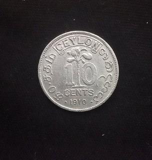 10 центов 1910г., Цейлон.
