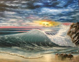 Не спокойно синее море. 70х90 см, холст, масло. Алек Гросс