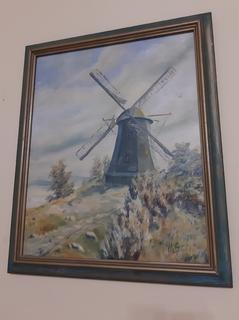 Стара картина Млин-Вітряк Германія підпис автора