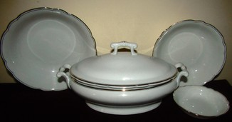 Сервиз набор посуды тюрина или тюринница + салатники клеймо Koenigszelt Silesia Германия
