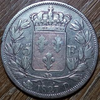 Франция 5 франков 1827 г.