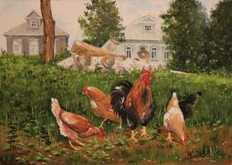 "Картина ""Куры в деревне"""