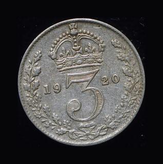 Великобритания 3 пенса 1920 серебро