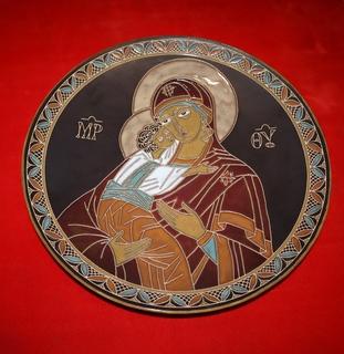 Икона Мама с Ребенком  ЛКСФ 42 см  Львовская керамика сделано в СССР