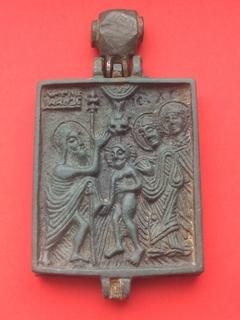 Икона - Энколпион XV век Рождество Христово, Крещение Господне