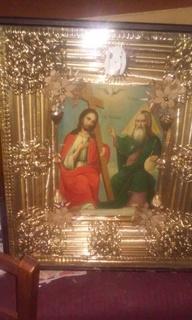 Икона  19 век Борисовка идеал состояние с киотом оригинальным