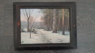 Картина Решетников Зимний лес 30 на 22см инициалы