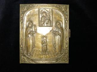 Икона ХІХ в. Нечаянная радость Богородица свв. Улита, Кирик и Лидия