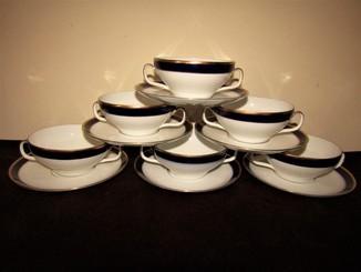 Бульонные чашки + пирожковые тарелки фарфор золочение кобальт клеймо  Melitta  Германия