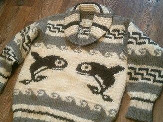Cowichan Indian - супер теплый толстый свитер 100%шерсть