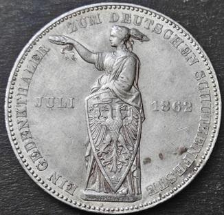 1 талер 1862 года. Франкфурт. Стрелковый фестиваль