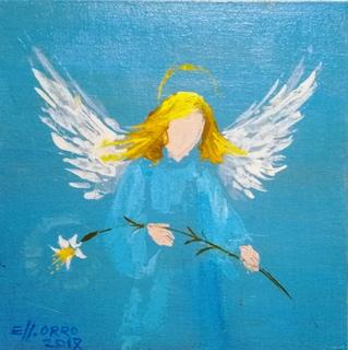 Картина «Ангел». Художник Ellen ORRO. Холст на картоне/акрил. 20х20, 2017 г.