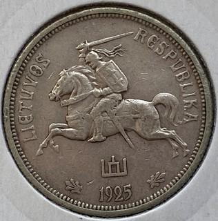 Литва 5 лит 1925 год серебро