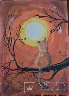 """Малюнок """"Місячна весняна ніч"""", 42х30 см., гуаш, листопад 2018 р., Аня Юхименко, 12 років"""