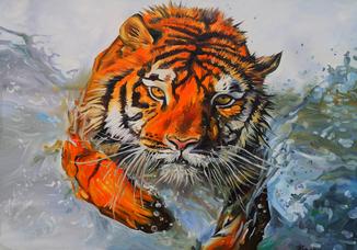 Бегущий тигр. 70Х100 см.