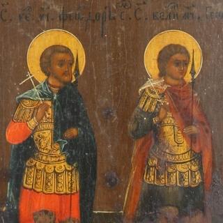 Створки с избранными святыми. Сусальное золото.