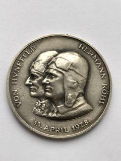 Настольная медаль Перелет через Атлантику 1928 год. Бремен, Германия, серебро