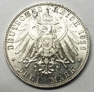 3 марки 1911 года. Бавария. aUNC.