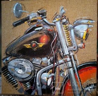Картина «Harley-Davidson». Художник Ellen ORRO. джут/акрил. 50х50, 2019 г.