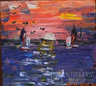 """Картина """"Захід сонця на морі"""", 45х40 см, листопад 2019 р, акрил, Марина Овдієнко, 13 років"""