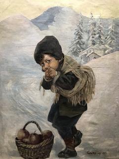 Ребёнок с корзиной яблок