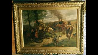 """""""Панорамная баталия Первой Мировой войны"""",1915 г.,х/м.,132×174 см.,R.Sperber."""
