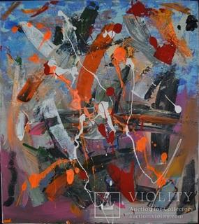 """Картина """"Повітряний бій"""", 45х40 см., акрил, грудень 2019 р., Артем Овдієнко, 15 років"""